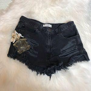 Abercrombie black distress shorts